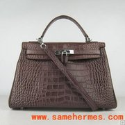 Hermes Kelly 35 cm crocodile leather bag dark coffee