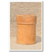 Jawaja Cylindrical Box With Lid, Natural Leather With Lining