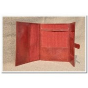 Jawaja File Folder With Flap, Dayed Leather With Lining