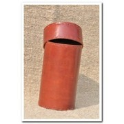 Jawaja Cylindrical Box With Lid, Dayed Leather With Lining