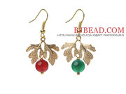 2013 Christmas Green Agate and Carnelian Earrings