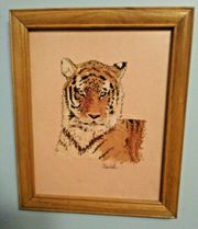 BEAUTIFUL FRAMED CROCHET TIGER